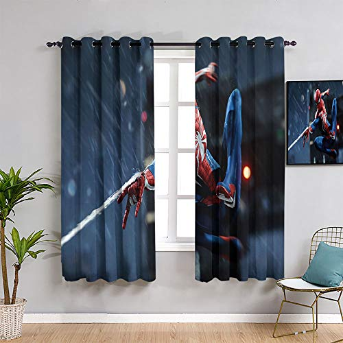 ZhiHdecor The Avengers curtainsSpider man movie art Modern Farmhouse Country Curtains,42'x62' Spider man Pattern curtains,Rod Pocket Curtain Panels for Bedroom & Living Room