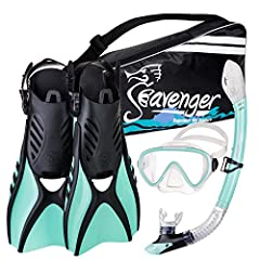 EASY USE — Dry-top snorkel and one-way purge valve allows for easy breathing. PANORAMIC VIEW — Single-lens mask in tempered glass makes for a stunning view. SNUG SEAL — Liquid-injected silicone minimizes water seepage. MULTI-USE FINS — Soft-flex, ven...
