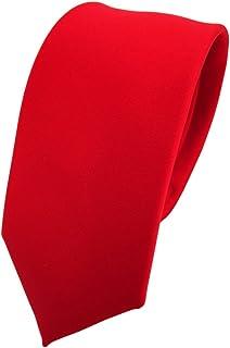 aa1ddb15e687b TigerTie étroit cravate rouge rouge vif unicolor - 100% Polyester - Tie  Pochette