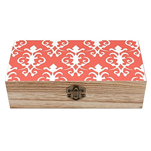 Caja de madera de damasco de coral caja decorativa del tesoro, mini caja de almacenamiento de joyería y almacenamiento para el hogar, caja de regalo, caja de té de almacenamiento de 19 x 9.7 x 5.3 cm