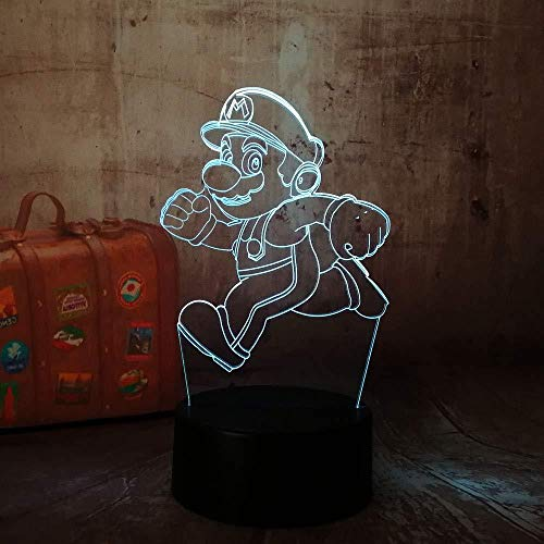 xcdfr 3D Optical Illusion Lamp Night Lights Toy Gift LED Table Lamp Bedside Decoration Cartoon Cute Running Figure Remote Control