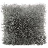CelinaTex Cuddly Dekokissen 60 x 60 cm grau Langhaar Zierkissen dekoratives Fellimitat Nicki...