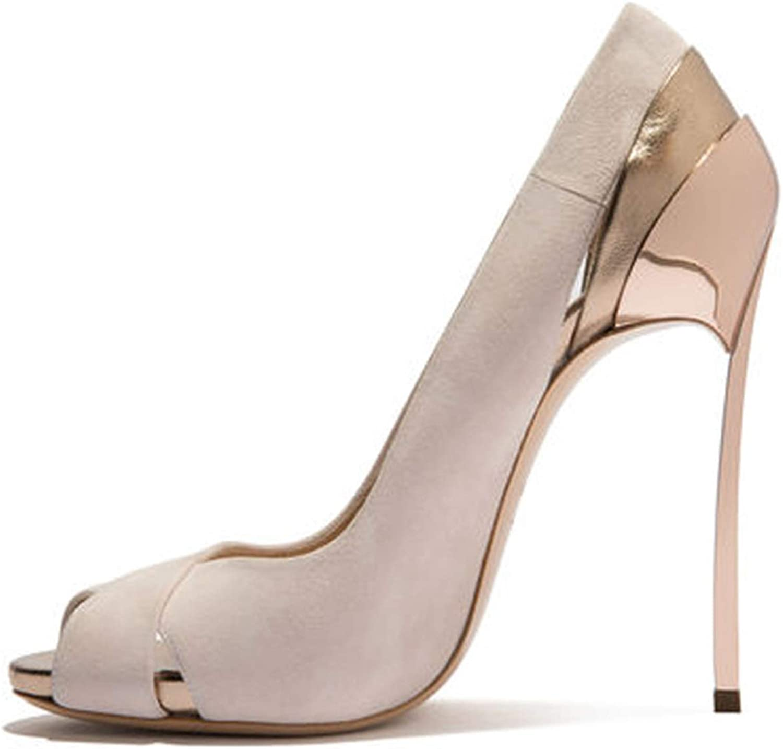 XWQYY Frauen Sexy High Heels Frühling und Sommer Fischmaul einzelne Schuhe Eisen mit Mode Gre Damenschuhe Mode Schuhe,Beige-39EU