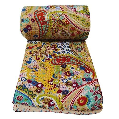 Yuvancrafts - Colcha Kantha India Hecha a Mano, diseño de Cachemira Tradicional, algodón Puro Kantha, Manta Gudari