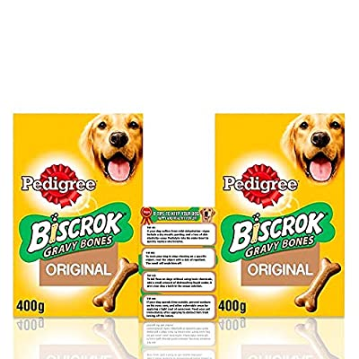 Pedigree Biscrok Gravy Bone Low In Fat Dog Biscuits 400g - Dog Treats + Dog Care Tips Flyer - Pack of 2