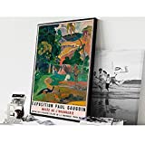 ZHJJD Paul Gauguin Museum Exposición Poster e Impresiones Acuarela Lienzo Pintura Famoso Cuadro de Arte de Pared para Salon de Estar Decoracion del hogar 50x70cm Sin Marco