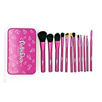 Allin Exporters Cosmetic Makeup Natural Professional Brushes Set or Kit - 12Pcs With Tin Storage Container (PINK)