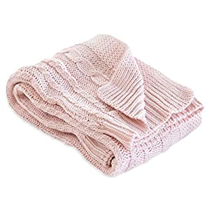 Burt's Bees Baby – Cable Knit Blanket, Baby Nursery & Stroller Blanket, 100% Organic Cotton, 30″ x 40″ (Blossom Pink)