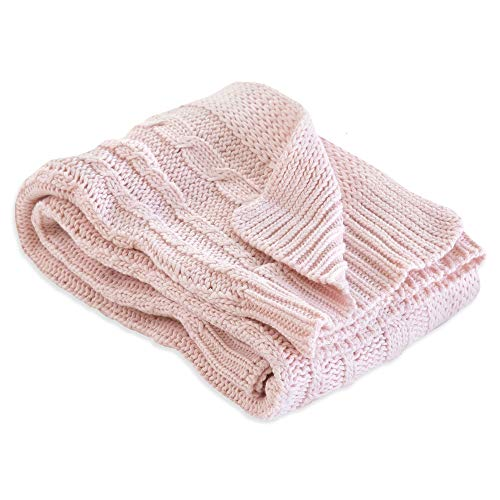 """Burt's Bees Baby - Cable Knit Blanket, Baby Nursery & Stroller Blanket, 100% Organic Cotton, 30"""" x 40"""" (Blossom Pink)"""