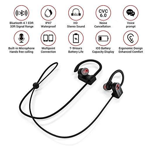 Blumelody Bluetooth Headphones, Wireless Sports Headphones, in-Ear Wireless Earbuds Built-in Mic IPX7 Waterproof HD Stereo Sound Noise Cancelling Wireless Earphones