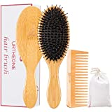 Boar Bristle Hair Brushes and Comb Set for Women men and Kids, Best Natural Bamboo Oval Paddle Hair brush with Wooden Detangling Comb suit for Curly Thick Thin Straight Wavy Long Short or Dry Hair