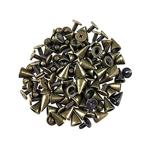 100 juegos de remaches punk, remaches de rosca de cono, puntas de bola de metal y remaches para bolsos de cuero, ropa, zapatos, cinturones, bricolaje (bronce)