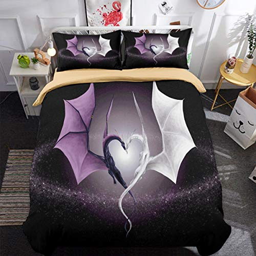 Animal Duvet Cover Set White Purple Dragon Duvet Cover with 2 Pillowcases 3D Printed Bedding Set with Zipper Closure 3 Pieces Hypoallergenic Soft Microfiber Double 200x200 cm
