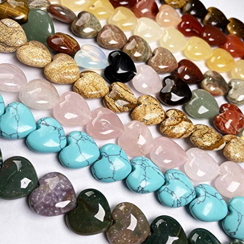 FISH4 11 Piezas en Forma de corazón Es Beads Cuentas de Piedra Natural para Hacer Joyas Collar Pulsera Accesorios de joyería 16X16X8Mm-Rosa Claro, 2Mm