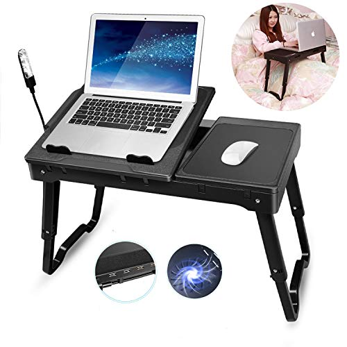 TeqHome Laptop Desk for Bed, Adjustable Laptop Bed Stand with Fan, Portable Lap Desk with Foldable Legs, Laptop Table for Couch Sofa Bed Tray with LED Light, 4 USB Ports, Storage