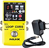 NUX Loop Core - Dispositivo de efectos para guitarra (pedal Looper + fuente de alimentación...