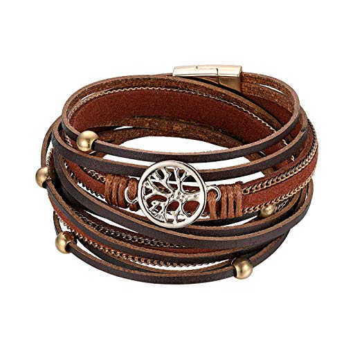 JewelryWe Boho Bracelet,Multi-Layer Leather Wide Cuff Wrap Bracelets with Tree of Life Charm for Men Women Girls