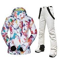 スノーボードウェア レディース スノボウェア 上下セット スキーウェア ジャケット パンツ 2点セット セットアップ スキー場 防風 防水 撥水 透湿 mtsw05 (ウェア+ホワイトパンツ, M)