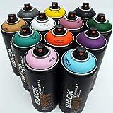 Montana negro 400ml colores complementarios Juego de 12Graffiti Street Art Póster Mural de pintura en spray