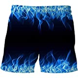 Baby Boys Shorts Summer 3D Print Blue Green Red Flame Quick-Drying Beach Pants Children Fashion Board Shorts Kids for 3-14T (Color : Picture Color, Kid Size : 4T)