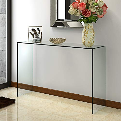 Panana Pald Crystal Modern Curved Console Glass Table Bent Clear Large Transparent Table For Hall Dining Room Home W100*D33*H76 CM