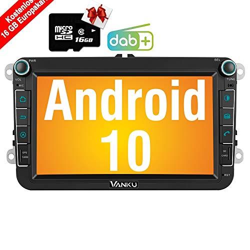 Vanku Android 10 Autoradio für VW Golf 5 6 Radio mit Navi 16GB Europakarten Eingebautes DAB + Modul Unterstützt Bluetooth 5.0 WiFi 4G Android Auto USB MicroSD 8 Zoll Bildschirm