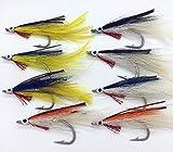BestCity DEC1 Köder für Fliegenfischen, Salzwasser, Größe 2/0-3/0, 8 Stück
