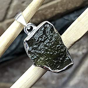 Natural Green Czech Republic Moldavite 925 Solid Sterling Silver Pendant