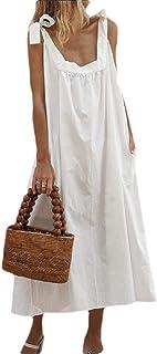 Women Long Dress Bandage Strap Sleeveless Flowy Loose Beach Midi Dresses