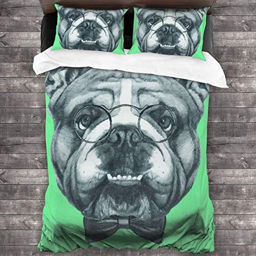 AIMILUX Funda Edredón,Ketched Retrato de un Caballero Bulldog Inglés con Gafas,Ropa de Cama Funda Nórdica,1(220x240cm)+2(50x80cm)