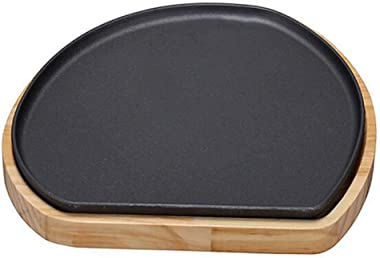 Skillet Pan Cast Iron Coated Reversible Griddle Pan, Double Sided And Reversible With Non Stick Ridged And Flat Surfaces