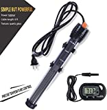 Orlushy Submersible Aquarium Heater,100W/150W/200W/300W Fish Tahk Heater with Adjust Knob Thermostat 2 Suction Cups and Free Thermometer Suitable for Marine Saltwater and Freshwater (500W)