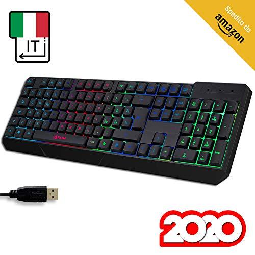 ⭐️KLIM Chroma Tastiera ITALIANA per Gaming USB - Alte Performance – Colori da Videogioco e Retroilluminata – Tastiera da Gioco – Tastiera per Videogame, PC PS4 Windows, Mac - Nuova Versione 2020