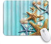MISCERY マウスパッド 貝殻ヒトデシェルコンクターコイズ木製ボードフレッシュオーシャンデザイン 高級感 おしゃれ 防水 端ステッチ 耐久性が良い 滑らかな表面 滑り止めゴム底 24cmx20cm