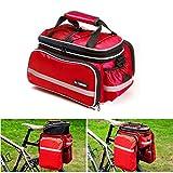 Vitalite - Bolsa de bicicleta de transporte para el portaequipajes, multifuncional y con cubierta impermeable, rojo