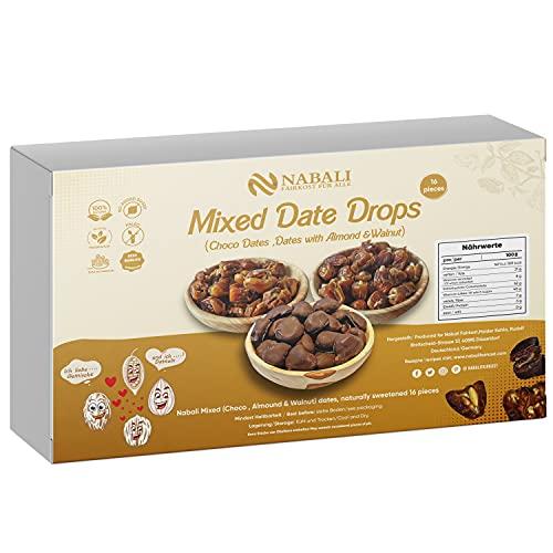 Nabali Fairkost Premium Sukkari - Sukari Datteln umhüllt von Schokolade, gefüllt mit Walnuss und Mandeln 16er Dattel Pralinen Geschenkidee, Geschmack: Mixed Box
