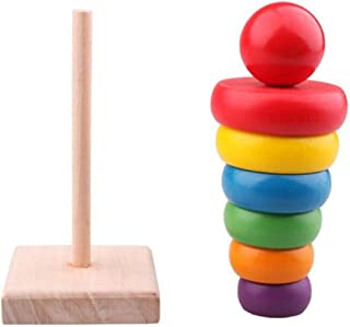 1 Set Wooden Stacking Ring Educational Early Learning Toys Rainbow Cute Tower Stack Up Nesting For Kids Children Baby
