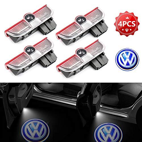 Zobir 4pcs Puerta De Coche Luz De Bienvenida Lámpara De Sombra Fantasma HD Logotipo Símbolo Luces del Proyector, para Volkswagen Passat/magotan/Golf/tiguan/Touareg/Jetta