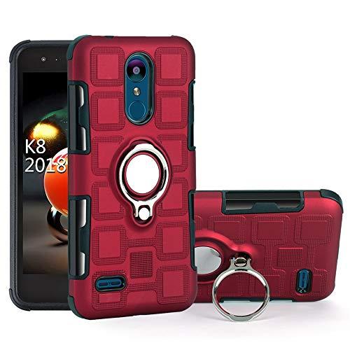 Case for LG K9 / LMX210EM K Series K9 2018 / LMX210CM Fortune 2 / K Series K8 2018 X210ULMG / X210ULM K Series K8+ 2018 / Zone 4 / Risio3 Case Cover + 360 Degree Rotating Ring Holder Kickstand Red