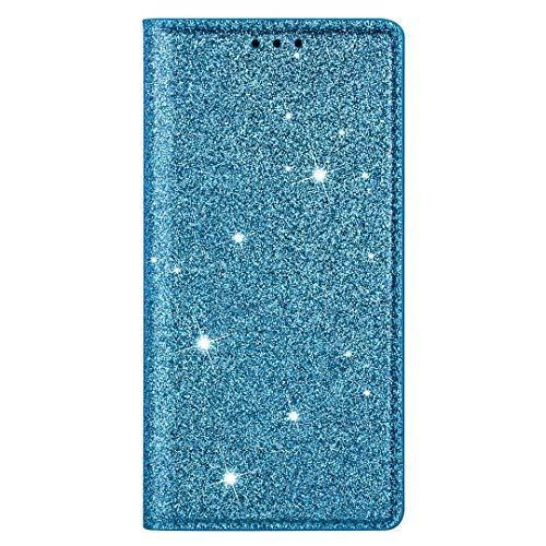 Funda para Samsung Galaxy S21 FE, para niñas con purpurina y absorción de golpes, piel sintética, con soporte para tarjetas, cierre magnético, carcasa protectora para Samsung Galaxy S21 FE, co