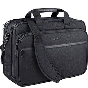 KROSER Laptop Bag Premium Laptop Briefcase Fits Up to 17.3 Inch Laptop Expandable Water-Repellent Shoulder Messenger Bag Computer Bag with RFID Pockets for Travel/Business/School/Men/Women-Black
