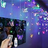 Ff Led-Lichterketten Led-Vorhanglichter, 1,5 X 0,5 M Usb 48Led Butterfly Fairy Vorhanglichter Fernbedienung Dekorative Fensterlichter, 8 Modi Wasserfeste Lichterketten Für Garten, Pavillon, Party, Te