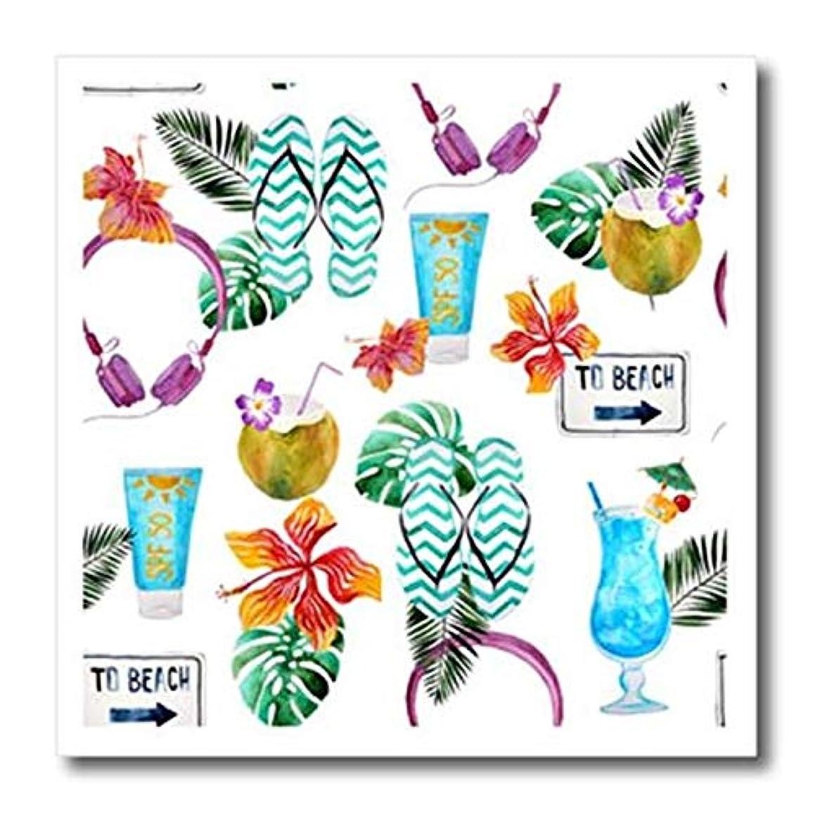 3dRose ht_255017_3 Beach, Flip Flops, Drinks, Tropical Flowers, Pattern Iron On Heat Transfer 10