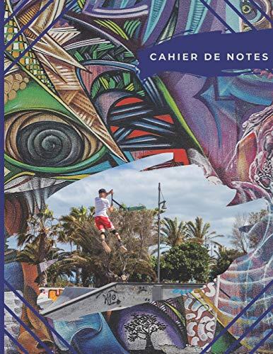 Cahier de notes: Trottinette tricks au skatepark | Photos de sauts en trottinette sur fond graffity | cahier de note multicolor pour riders (Trottinette Freestyle)