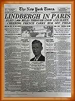 ポスター ピーター リンドバーグ VISIONAIRE(ヴィジョネアー)チャールズ・リンドバーグ NYタイムズ1927年5月22日 額装品 ウッドベーシックフレーム(オレンジ)