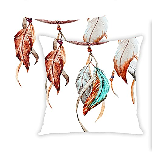 Sgvsdg Set of 2 Throw Pillow Cover Watercolor Dream Catcher Native American Inspirations Traditional 18 X 18 Inch Square Hidden Zipper Home Cushion Decorative Pillowcase