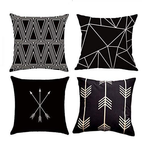 MOCOFO - Fundas de Almohadas Decorativas, Juego de 4 Almohadas de algodón, Lino, Negro y Beige. Tela de Lona Tejida con Tejido geométrico