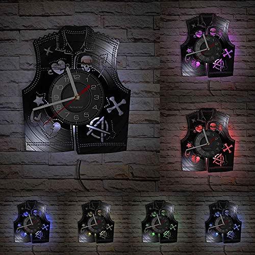 GVSPMOND Reloj de Pared con Chaleco Punk, Calavera Retro, corazón Roto, corazón, Estrella, Hueso, Icono, Reloj de Bolsillo Moderno, decoración de Regalo de música Rock
