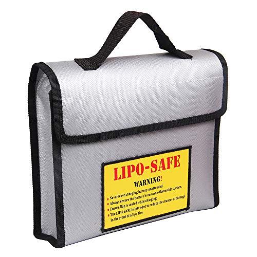 Fesjoy Tragbare feuerfeste explosionssichere Lipo-Batterie-sichere Tasche Hand hitzebeständiger Beutel Sack für Batterieladung und Lagerung 240 * 180 * 65mmfeuerfeste dokumententasche,geldtasche,safe