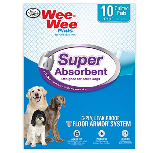 Four Paws Wee-Wee Super Absorbent Pads for Dogs 10 Count Large 24